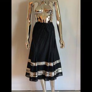 Calvin Klein Cotton Skirt Black w/ Silver Stripes